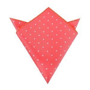 OTAA Coral Pink White Polka-Dots Pocket Square